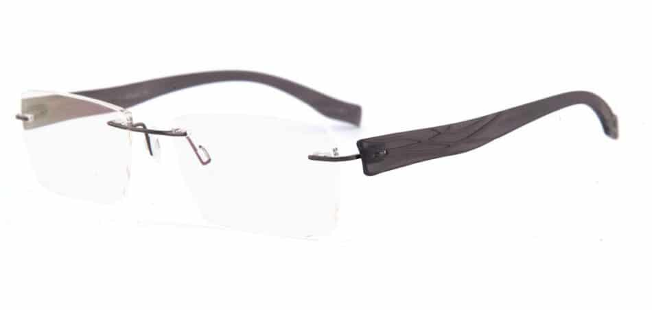 Black Plastic Rimless Glasses 130749 2