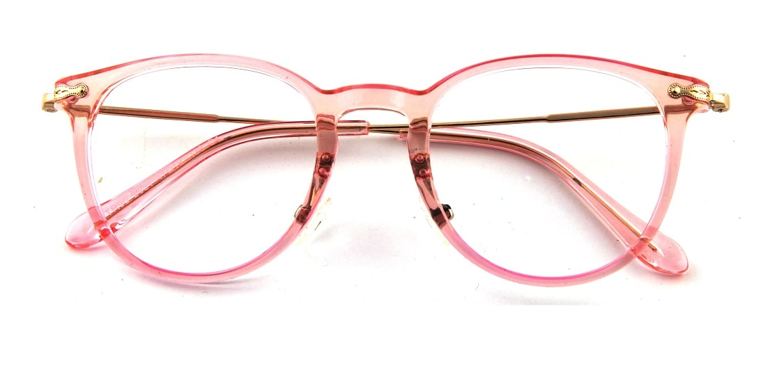 Pink Round Transparent Glasses 110128 1