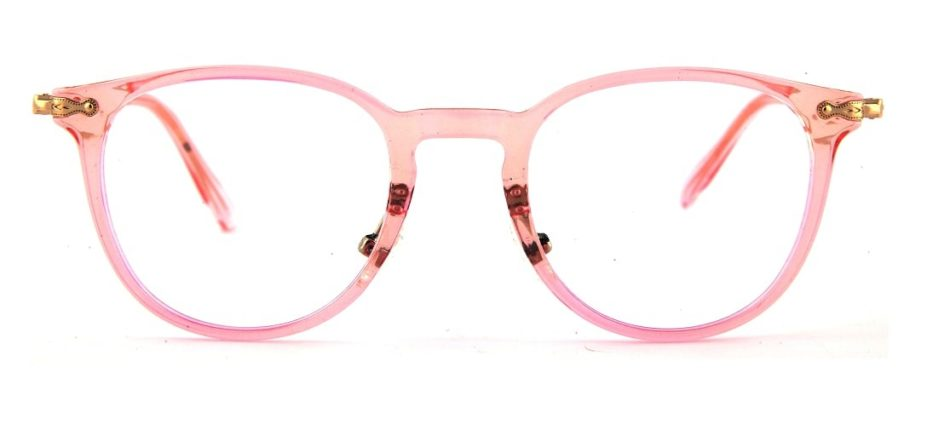 Pink Round Transparent Glasses 110128 2