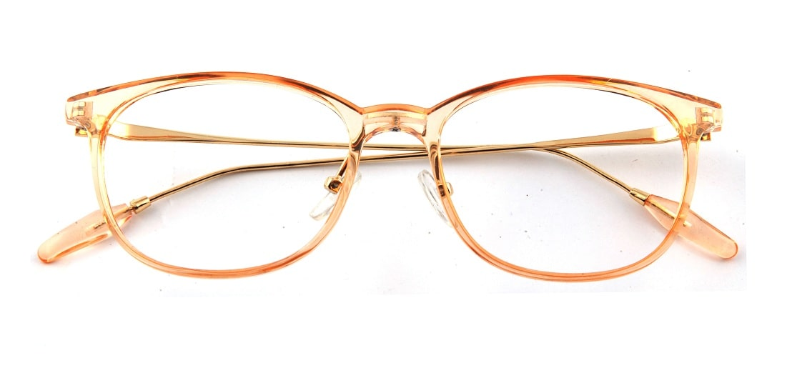 Orange Transparent Square Glasses 110124 1