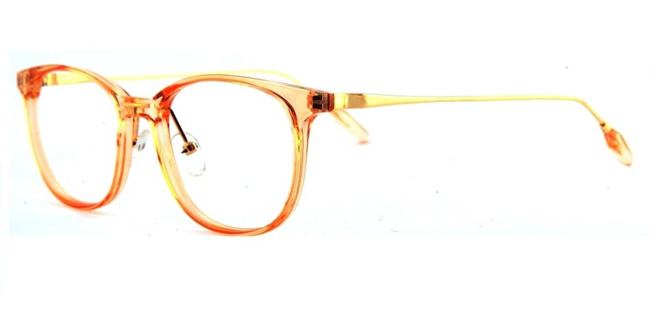 Orange Transparent Square Glasses 110124 2