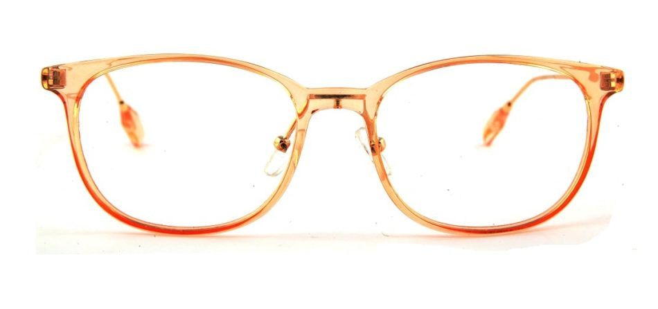 Orange Transparent Square Glasses 110124 3