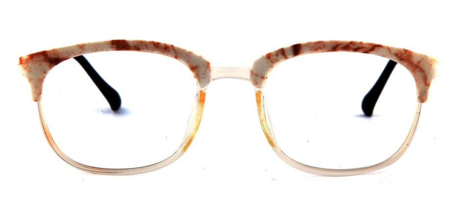 Transparent White Square Browline Glasses 110227 2