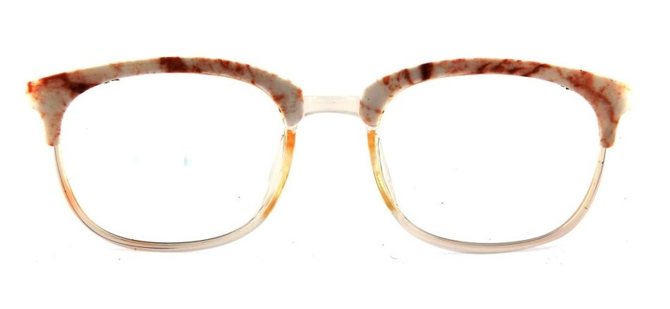Transparent White Square Browline Glasses 110227 4